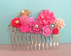 Fuchsia Hair Comb Cranberry Pink Wine Red Gold Maroon Wedding Head Piece Pink Floral Hair Comb Bridesmaid Gift Big Rose Bright Bold
