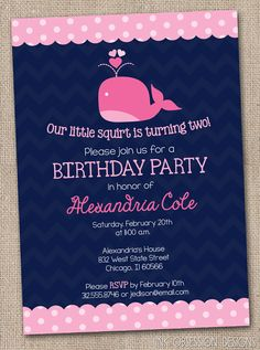 Navy Blue and Pink Whale Birthday Party Invitation