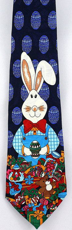 Easter Bunny Mens Necktie Decorated Dyed Eggs Toys Blue Holiday Gift Him Tie New #StevenHarris #NeckTie