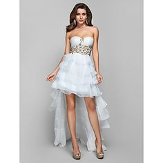 A-line/Princess Strapless Asymmetrical Chiffon Evening/Prom Dress - USD $ 199.99