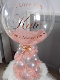 Personalised Bubble Balloon infused with pink blush lace & Rose Gold printing