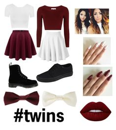"""""""#twins"""" by princessevelyn31 on Polyvore featuring Topshop, Dr. Martens, WearAll, Vans, Forever 21 and Lime Crime"""