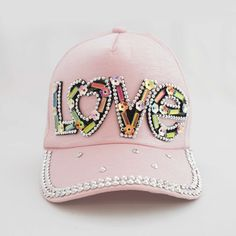 """The Love Me Princess Trucker Cap by Sienna Likes to Party Accessories - from the new """"Limited Edition"""" Collection - shipping worldwide Stylish Hats, Hat Shop, Pink Princess, Party Accessories, Pale Pink, Rainbow Colors, Crystal Beads, Handmade Jewelry, Fashion Jewelry"""