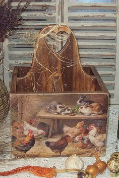 "Короб-подставка ""Сельский дворик"" - кухня,кантри,куры,петух,кролики,деревня"