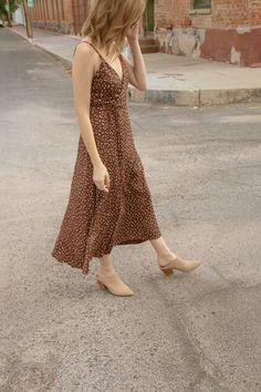 Wrap Dress in Brown Dot