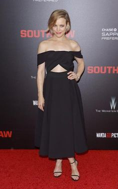 Rachel McAdams in a black Self-Portrait dress at the New York premiere of 'Southpaw.'