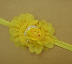 Yellow Baby-Toddler-Kids Pearl Silk Rose Headband Headbands Hair b16 #unbranded