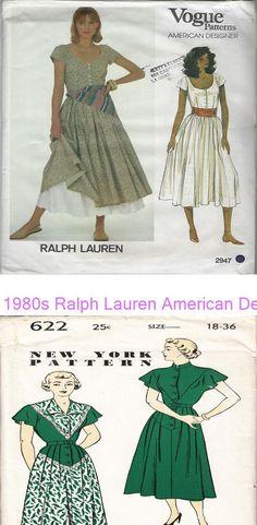 1980s Ralph Lauren American Designer Vogue Dress 2947 Sewing Pattern Bust 32-1/2 #47831