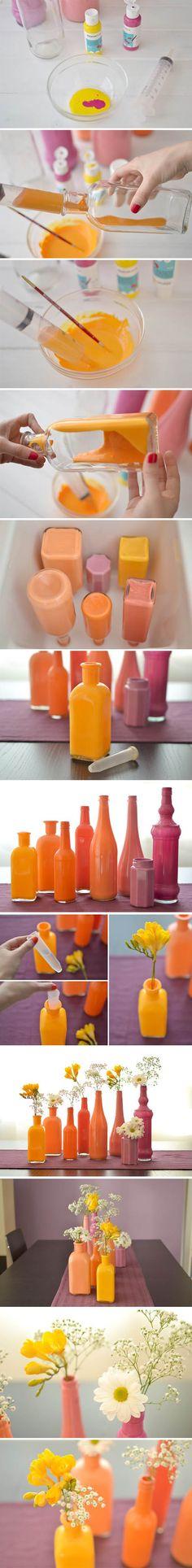 botellas pintadas muy ingenioso