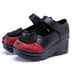 9393d3b2edbb SOCOFY Retro Leather Flower Shoes For Women - Banggood Mobile