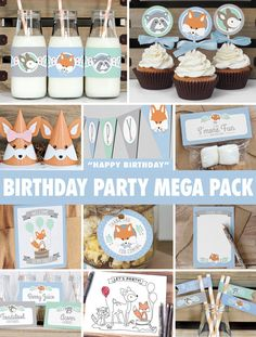 SAVE 50% with the mega party pack! Everything you need to throw a spectacular woodland birthday party for your little one. Colours are mint,