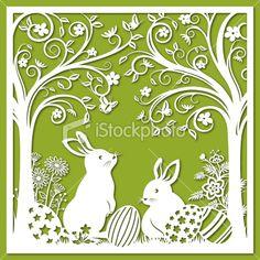 Easter Bunnies Papercut Art - Stock illustration