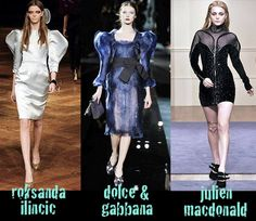 designer work inspired by Bustle period: Collections from different designers. This dress has puff shoulder sleeves styles, leg-of-mutton sleeves. Christophe Decarnin, 16th Century Fashion, Leg Of Mutton Sleeve, Peplum Dress, Bodycon Dress, Julien Macdonald, Leg Sleeves, Sleeve Designs, Shoulder Sleeve