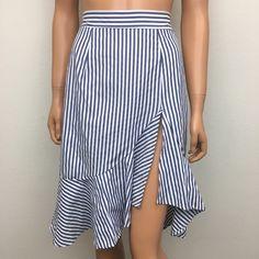 Shasa Skirts | Blue Striped Ruffle Skirt | Poshmark Ruffle Skirt, Midi Skirt, Blossoms, Blue And White, Stripes, Skirts, Outfits, Beautiful, Things To Sell