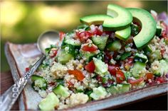 Quinoa, Cucumber and Tomato Salad.