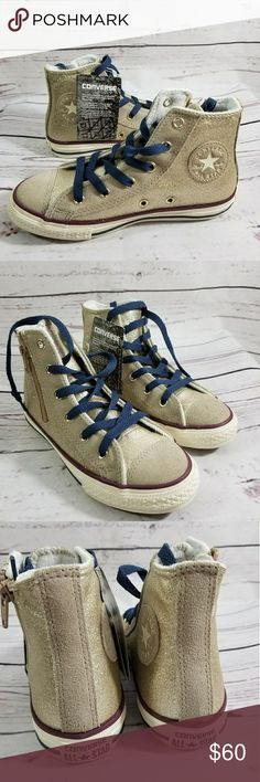NEW CONVERSE Gold Glitter Hightop Sneakers Size 1 New In BOX! Gold Glitter High tops by Converse Kids Size 1 Converse Shoes Sneakers