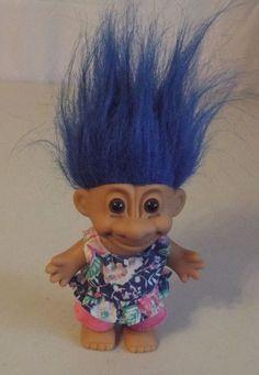 Russ Troll Doll Girl Floral Shirt Pink Shorts Blue Hair #Russ #TrollDoll