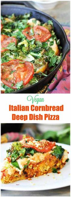 Vegan Deep Dish Pizza with Italian Cornbread Crust! This thick, gooey, delicious deep dish pizza recipe is a crowd pleaser. www.veganosity.com