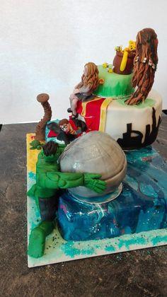 40+40= 80  Gegensatz Torte zum 40. Geburtstag eines Ehepaares  Harry Potter Hulk Star Wars Winnie Puh Karibik London Hulk, Harry Potter, Star Wars, Birthday Cake, London, Desserts, Painting, Food, Art