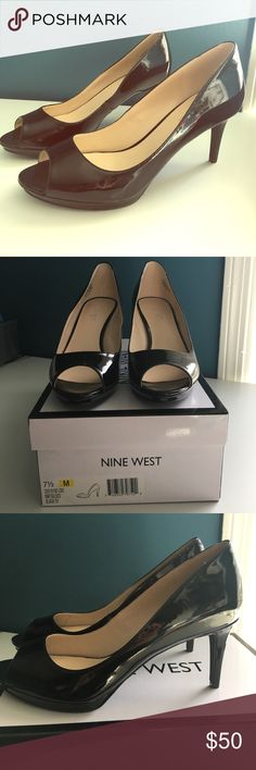 "NIB Nine West Patent Peep Toe Sz 7.5 Brand new in box 📦 Classic patent leather peep toe pumps 🕷 Nine West Gilded Platform Pump. The Gilded platform pump has a flirty silhouette and will easily add a little flair to your next outfit! Faux patent leather upper Round peep toe ½"" platform, 3"" covered heel Nine West Shoes Heels"