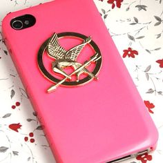 Pink Hunger Games iPhone cover with a mockingjay