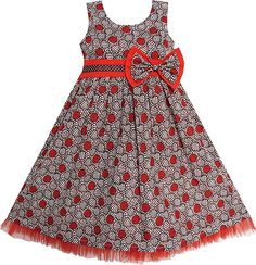 Sunny Fashion Little Girls' Dress Maroon Bow Tie Ruf. African Dresses For Kids, African Print Dresses, African Print Fashion, African Fashion Dresses, Little Girl Dresses, Girls Dresses, Formal Dresses, Kids Dress Wear, Girl Fashion