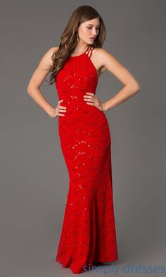 Shop for long formal lace gowns that are sequin embellished at SimplyDresses. Floor length dresses with bare backs for holiday parties.