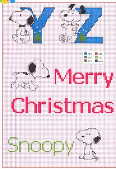Snoopy alphabet part 4 - free cross stitch pattern