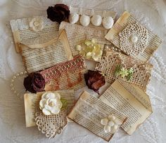 Handmade Shabby Chic Vintage Envelopes Made with Book Pages for Journals & Scrapbooks on http://www.trehanstreasures.com/