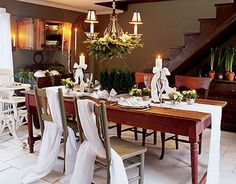Nice & easy chair and chandelier treatments.  Top 100 Christmas Table Decorations - Christmas Decorating -