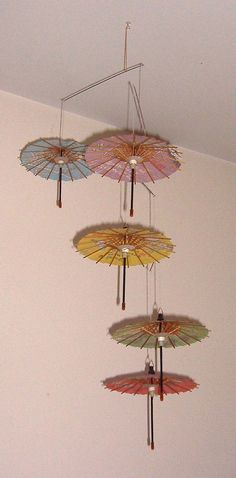 Miniature Japanese Paper Umbrella Parasol Hanging Mobile Ornament for Your Doll or Dollhouse