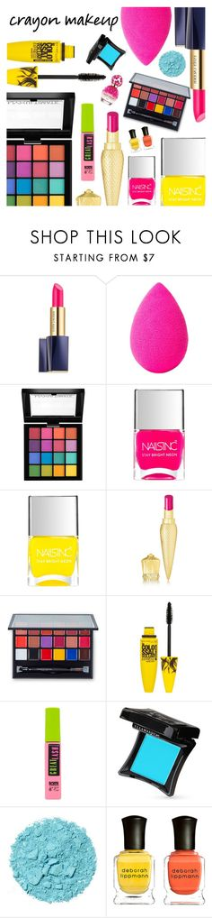 """All the Colors: Crayon-Inspired Makeup"" by dressedbyrose ❤ liked on Polyvore featuring beauty, Estée Lauder, beautyblender, NYX, Nails Inc., Christian Louboutin, Maybelline, Illamasqua, Deborah Lippmann and Marc Jacobs"