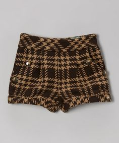 Take a look at this Brown Fairy Dust Plaid Shorts - Toddler & Girls by Kalliope on #zulily today!