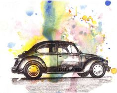 Volkswagen Vw Beetle Art Print From Original Watercolor Painting Car Art Print Buy Three 5 X 7 prints and receive one for free