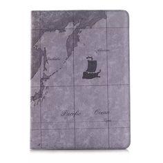 Stylische Lederhülle im Landkarte Design für iPad Air 2 - spitzekarte.com