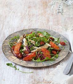 Mackerel, blood orange, chorizo and walnut salad