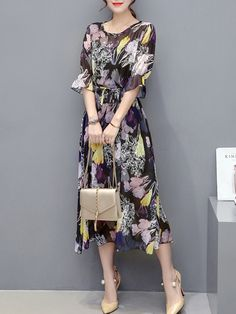 Captivating Round Neck Hollow Out Printed Chiffon Maxi Dress