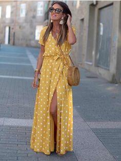 Vestido Lunares, mostaza, Mariquita Trasquilá