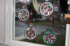 christmas crafts for kids - Christmas ornament window light catchers (contact paper sticky side up - add tissue paper - another sheet of contact paper, and cut out. Ornament Crafts, Christmas Projects, Holiday Crafts, Holiday Fun, Toddler Christmas Crafts, Christmas Activities For Toddlers, Nativity Crafts, Christmas Ideas, Christmas Crafts For Kids To Make At School