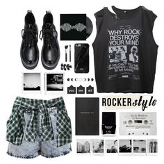 """""""Rocker Style"""" by fashionlover2157 ❤ liked on Polyvore featuring Miss Selfridge, R13, Butter London, Lands' End, Smythson, Native Union, rockchic and rockerstyle"""