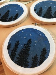 Each 5 hoop is unique and one of a kind creation featuring our favorite view...tall pine and spruce trees in silhouette against the starry night sky! The deep blues of the night sky have been hand painted onto cream fabric, the trees are then hand stitched over top with black cotton embroidery floss. The constellation of Cassiopeia is stitched with white thread in the sky. Perfect gift for any nature lover or star gazer! Slight variations in each hoop are to be expected, creating a truly…