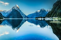 Mitre Peak reflections at Milford Sound, South Island, New Zealand ~ Nz South Island, New Zealand South Island, Visit New Zealand, New Zealand Travel, Places To Travel, Places To Visit, Travel Destinations, New Zealand Landscape, Station Balnéaire