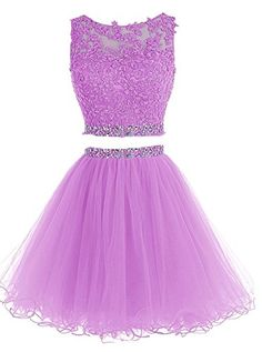Lilibridal Two Pieces Short Beaded Prom Dress Tulle Appli. Two Piece Homecoming Dress, Homecoming Dresses Long, Pretty Prom Dresses, Elegant Dresses, Short Prom, Dama Dresses, Hoco Dresses, Cute Dresses, Formal Dresses