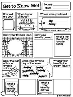 Printable Get to Know Me Questions Worksheets & List PDF Packet Get To Know You Activities, First Day Of School Activities, Learning Activities, Kids Learning, Toddler Activities, Kindergarten Worksheets, Worksheets For Kids, Printable Worksheets, Get To Know Me