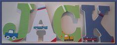 Boy's Nursery or Bedroom Wall Letters Trucks by dmh1414 on Etsy, $12.50