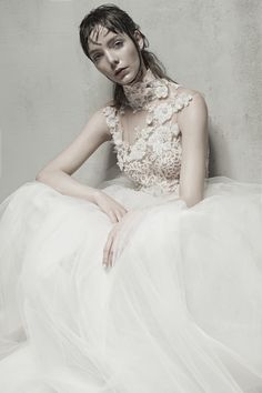 IONE - Illusion high neck gown, Italian tulle bodice with French lace cut out by hand, embroidered with handpainted flowers.