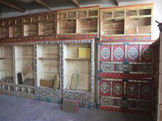 Tibetan Hand Painted Cabinets Doors Commissioned in China. Painting Cabinets, Painting On Wood, Tv Covers, Bohemian Design, Painted Doors, Wooden Furniture, Cabinet Doors, Home Decor Items, Living Spaces
