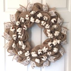 The Cotton & Burlap Wreath is the perfect French Country decor piece. The natural burlap ribbon accents thecotton boll stems & silk floral print ribbon