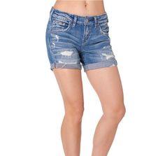 Silver Jeans Distressed Cuffed Boyfriend Shorts