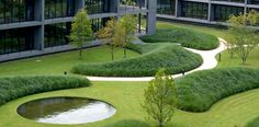 Ernsting& Family Campus in Coesfeld Germany by Wirtz International Landscape Architects Landscape Architecture Design, Garden Landscape Design, Urban Landscape, Landscape Architects, Contemporary Landscape, Architecture Plan, Modern Landscaping, Landscaping Plants, Landscaping Design